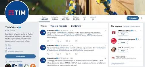 profili twitter ufficiali da usare per farsi contattare dalla tim