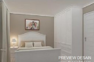 Design interior kamar tidur utama apartemen sempit