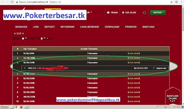 BUKTI MENANG POKER ONLINE DI WWW.POKERTERBESAR.TK HYSTORY WITHDRAW JUTAAN