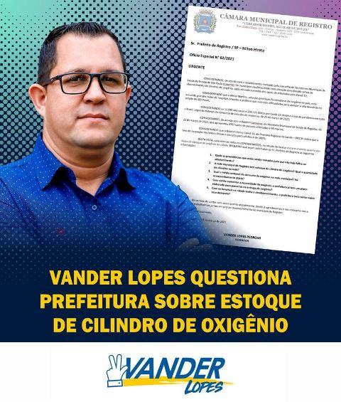 VANDER LOPES QUESTIONA PREFEITURA DE REGISTRO-SP SOBRE ESTOQUE DE CILINDRO DE OXIGÊNIO
