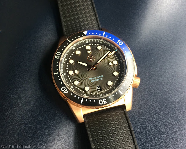 Zelos Mako bronze diver black and blue bezel rubber strap