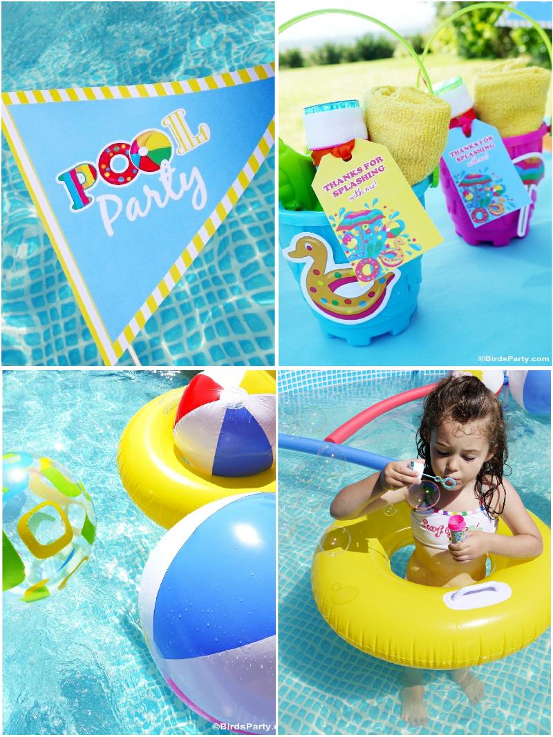 Pool Party Ideas & Printables Kids Summer Party  - BirdsParty.com