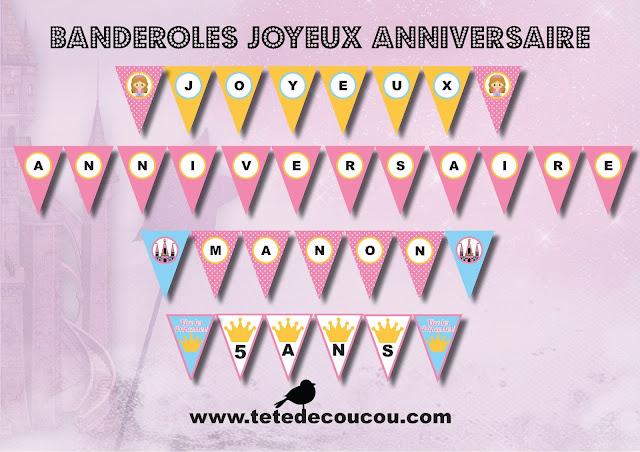 Banderole joyeux anniversaire Kit anniversaire personnalisé princesse fille rose à imprimer tête de coucou