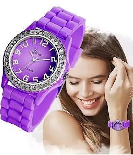 Ladies Fashion Rhinestones Crystal Purple Watch