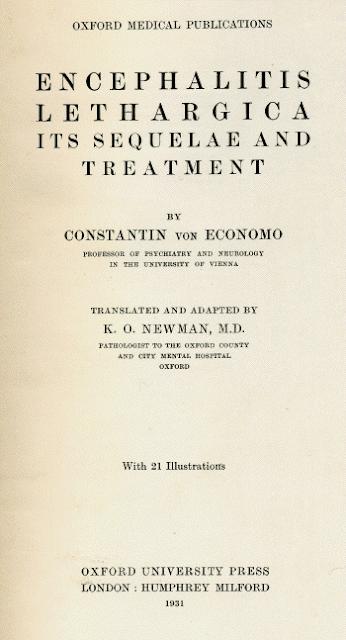 Encephalitis lethargica. Its sequelae and treatment -Constantin Von Economo 1931年版封面
