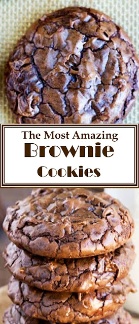 The Most Amazing Brownie Cookie Recipe #Brownies #Cookies #Chocolate