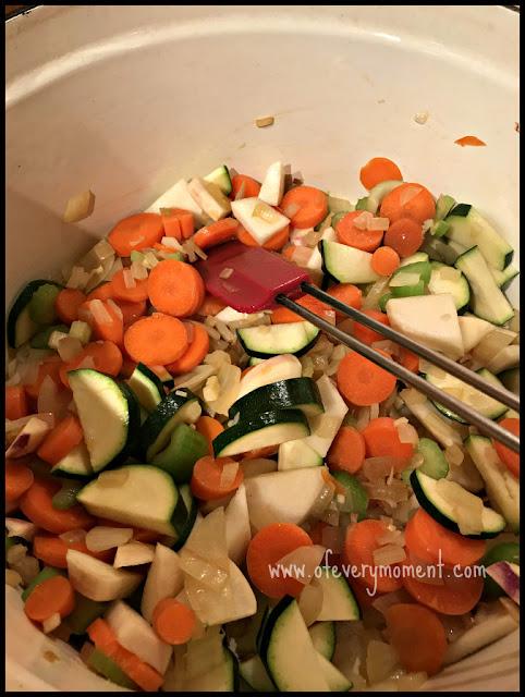 Vegetables simmering in a pot