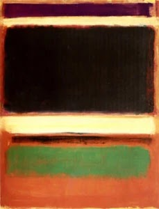 Modern art by Mark Rothko Magenta Black Green on Orange