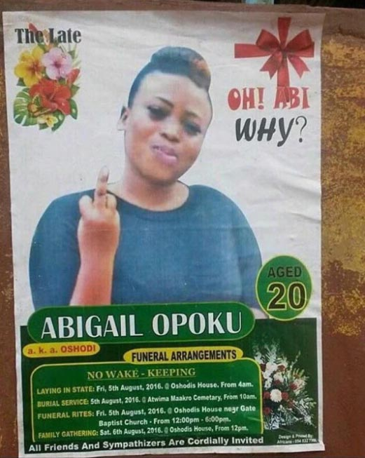 """Young woman's obituary poster goes viral as she appears to be saying """"bleep you"""""""