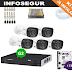Kit DVR 8 Canais intelbras, 5 cameras Multi HD 720p, HD 1TB e acessórios