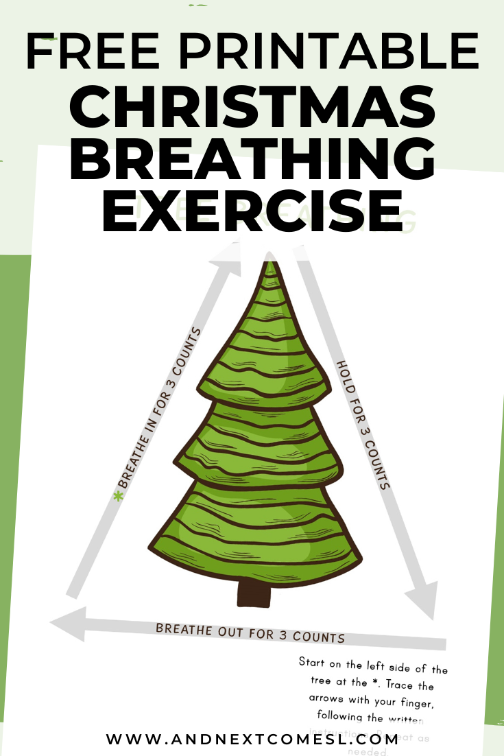 Christmas tree deep breathing exercise for kids with free printable mindfulness poster