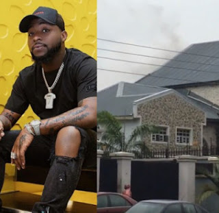 (Video link) Parts of Davido's father's house gutted by fire today