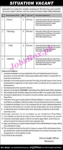 health-department-malakand-jobs-2021-application-form