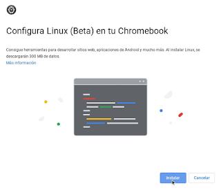 Configuración Chrome OS - Linux dialogo