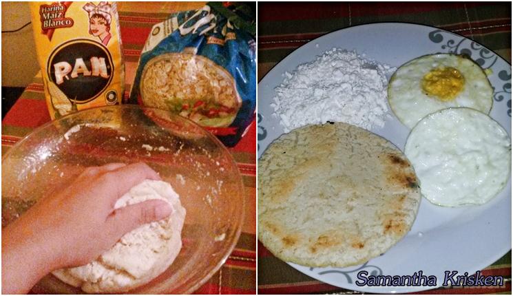 Desayuno con arepa venezolana