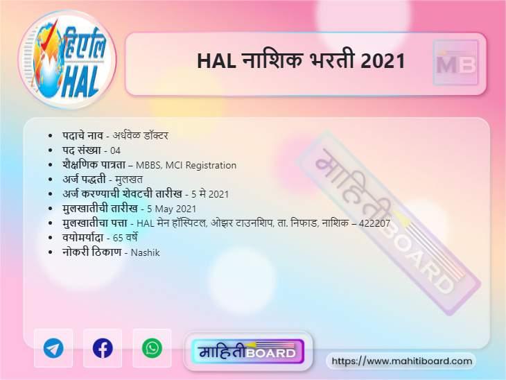 HAL Nashik Bharti 2021