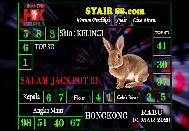 Prediksi Togel JP Hongkong Rabu 04 Maret 2020 - Prediksi Syair88