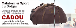 Cumpara porduse Solgar in suma de 200 lei si poti primi cadou o geanta calatorii si fitness
