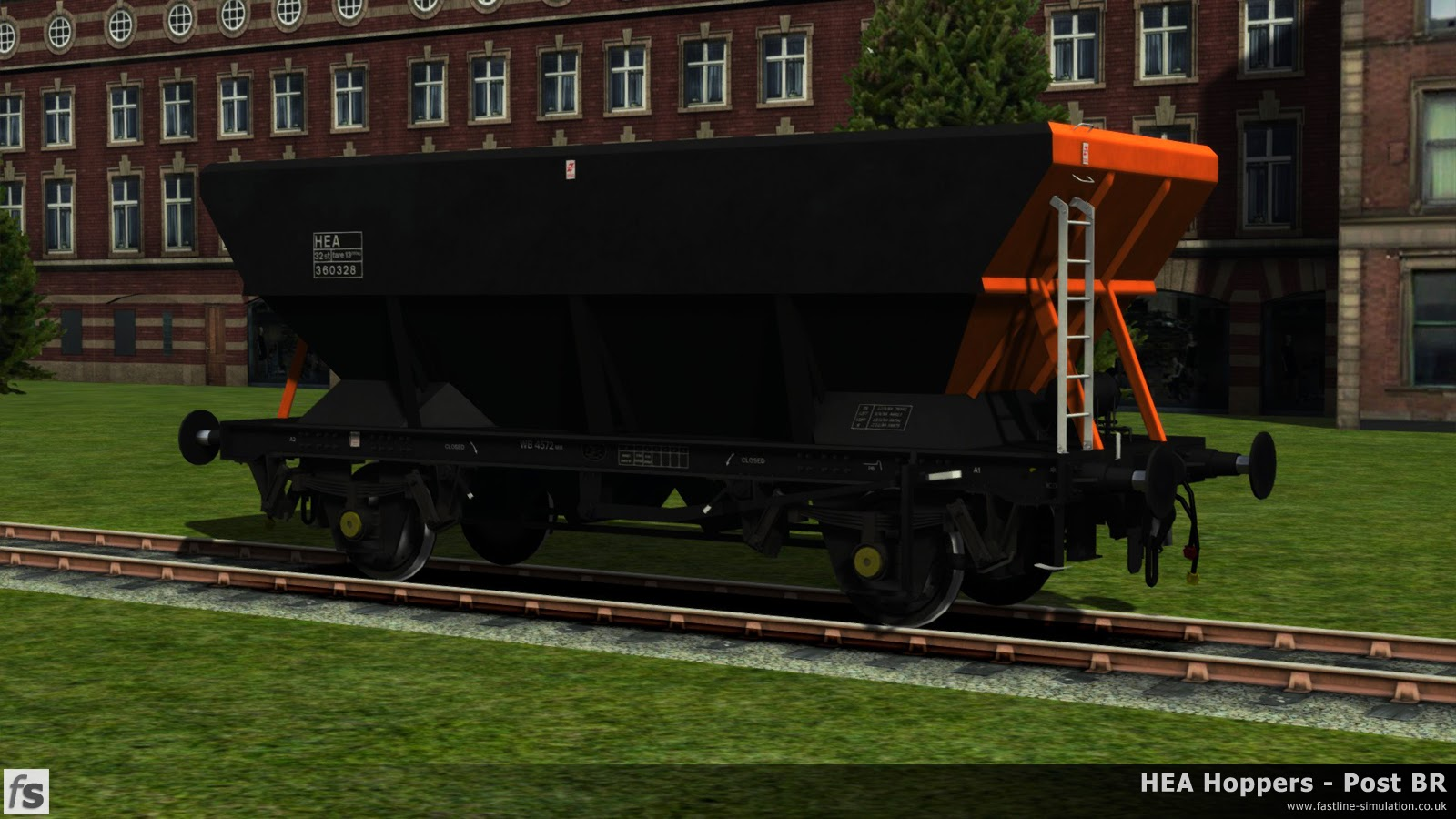 HEA Hoppers - Post BR: A work in progress picture of one of the later offset ladder HEA hoppers in almost ex-works Loadhaul livery under development for Train Simulator 2014.