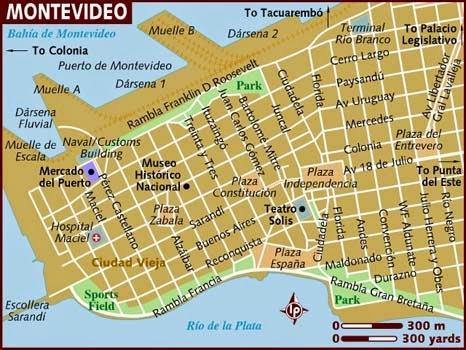 Map Montevideo Uruguay