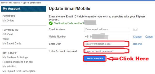 How to change/update registered mobile number in Flipkart