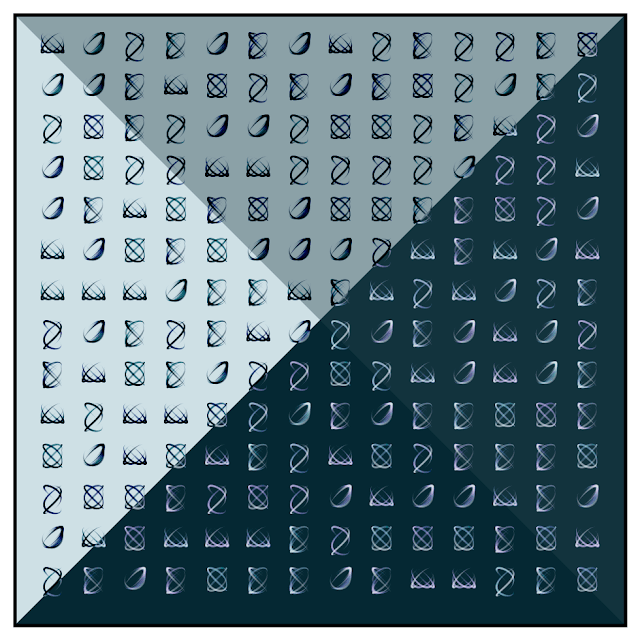 Little shapes matrix. Generative art made with programming code.