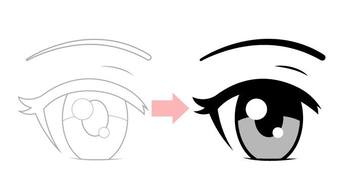 Buat sketsa untuk membersihkan mata anime menggambar