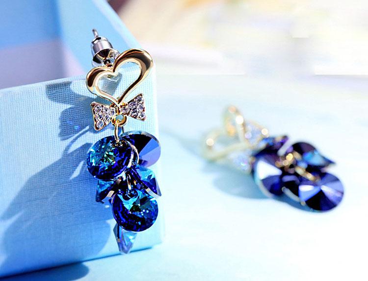 幸福朵朵藍水晶耳環
