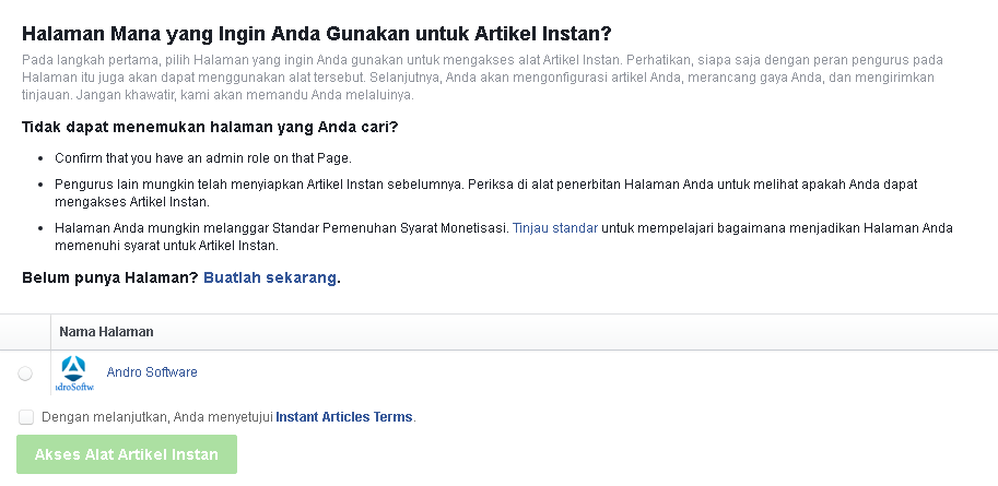 Daftar Halaman Facebook ke Instant article facebook