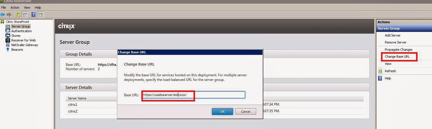 Citrix Storefront Servers Change base URL and Load balancing