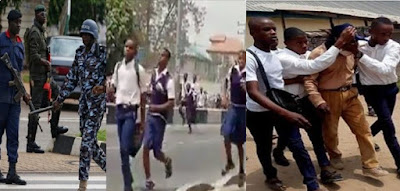 Chaos in Uyo As Marlian Cultist Students Attack Police,  Beats Staff Of Sec School (Video)