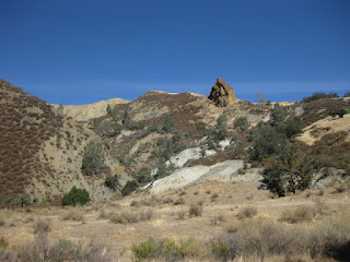 Pinnacle rock atop a ridge, Panoche Road, San Benito County, California