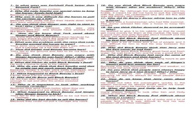 اهم اسئلة قصة بلاك بيوتى فى ورقتين ورد فقط - اللغة الانجليزية للصف الثالث الاعدادى الترم الثانى اهم اسئلة بلاك بيوتى فى صفحتين وورد من شمس وقمر