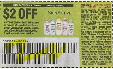 """$2.00/1  Garnier SkinActive or Green Labs product Coupon from """"SAVE"""" insert week of 8/1/21."""