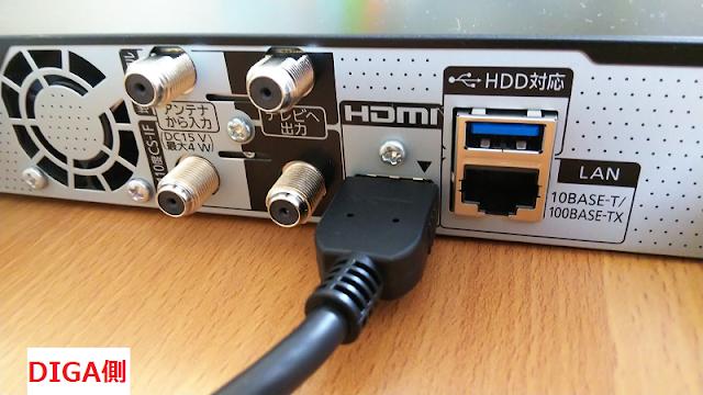DIGA HDMIケーブル接続
