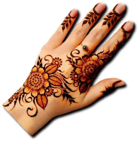 Back Hand Mehndi Design of Flowers
