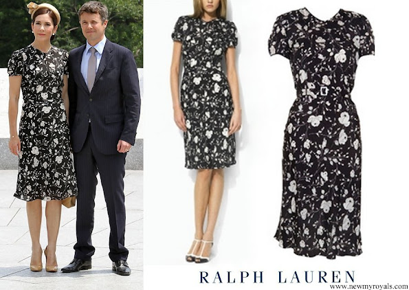 Crown Princess Mary Ralph Lauren Black and White Floral Dress