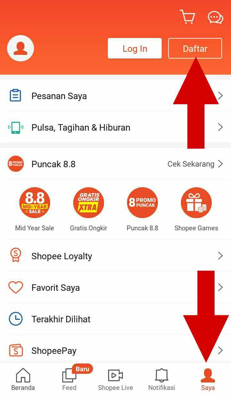 Tutorial Cara Daftar Shopee Dengan Email Line Dan Facebook Azizpedia