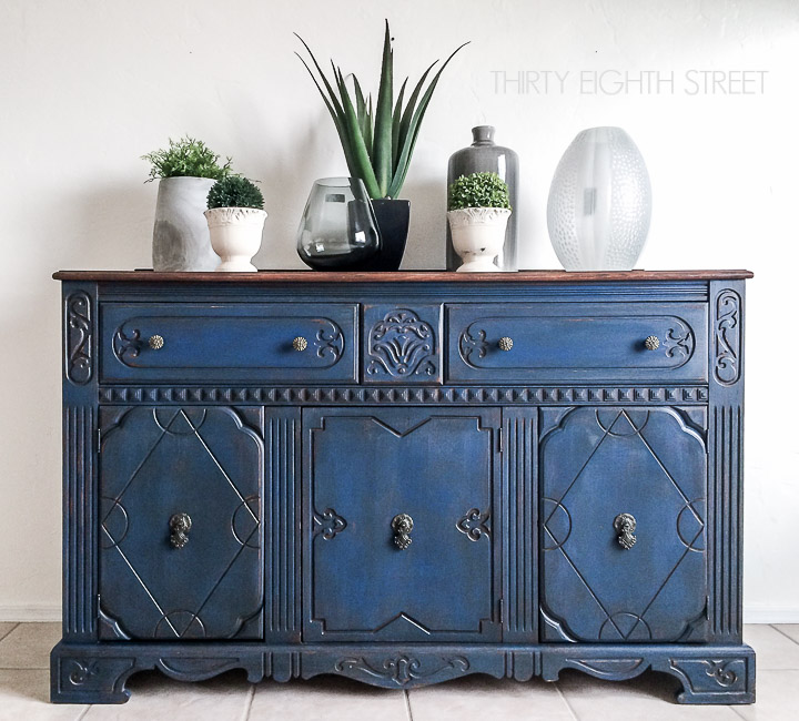 blue painted buffet makeover thirty eighth street