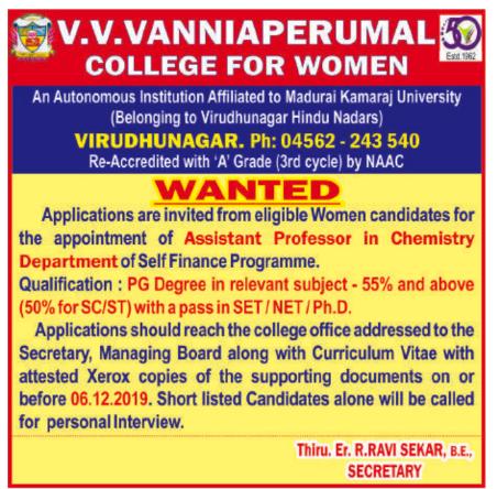 v v vanniaperumal college for women