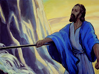 God told Moses to hit a rock with his stick, when he did water began to run, and the people drank.