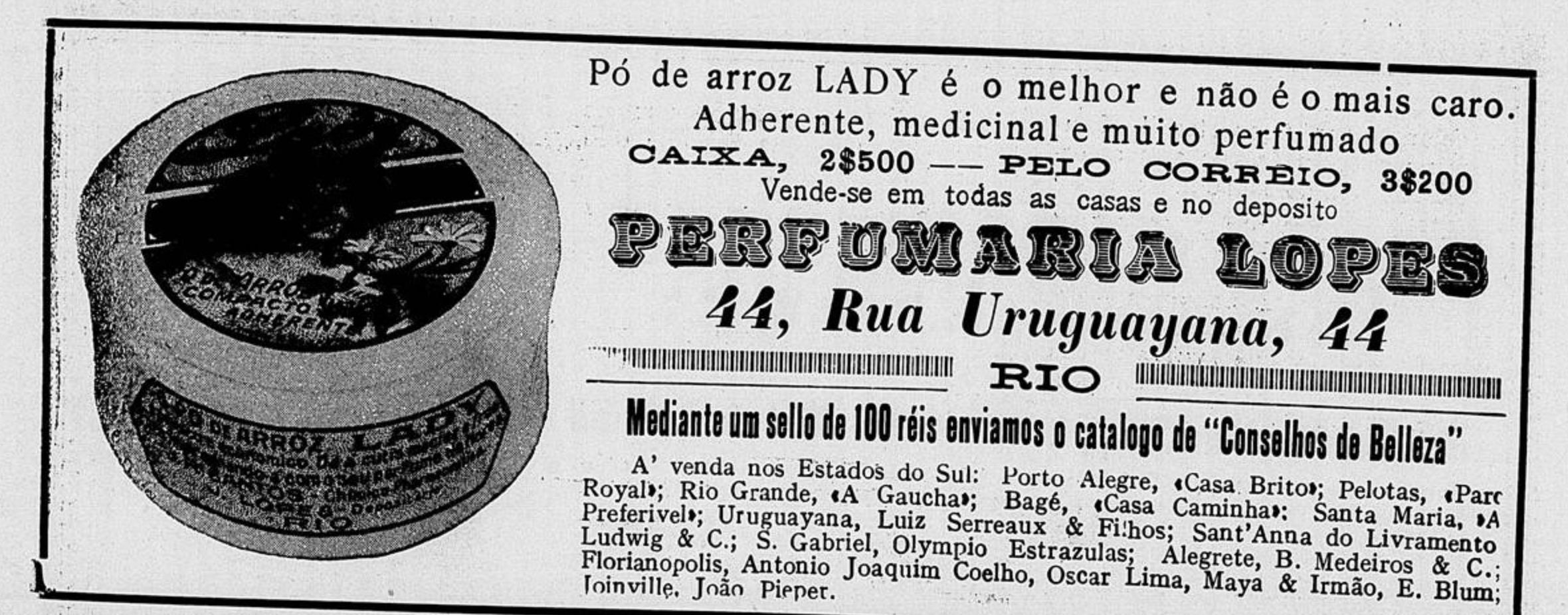 Propaganda veiculada em 1916 promovia produtos da Perfumaria Lopes