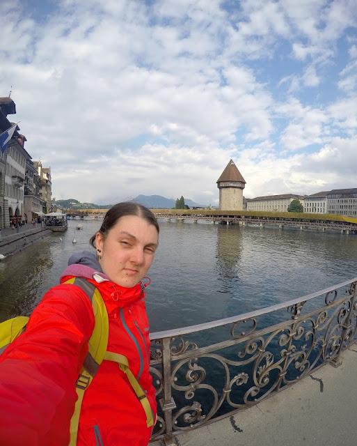 Lucerne, switzerland, chapel bridge, selfie, lake, travel