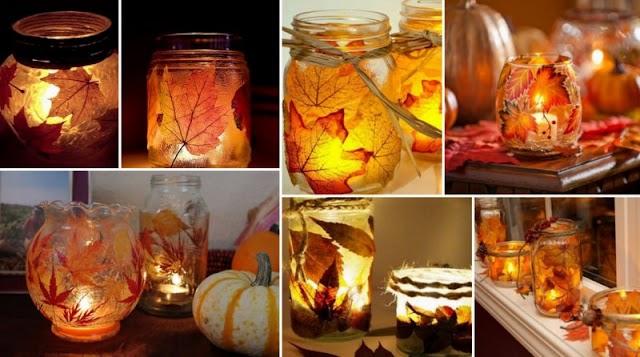 Φτιάξτε Φθινοπωρινά Κηροπήγια με Φυσικά Φύλλα
