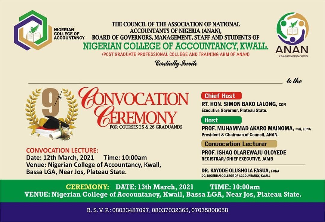 NCA Kwall (ANAN) 9th Convocation Ceremony Date 2021