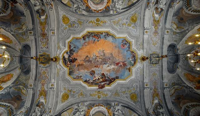 Ballroom ceiling of the Ca Rezzonico with ceiling by Giovanni Battista Crosato (1753)_psartworks.in