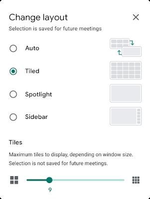 Google Meet grid option