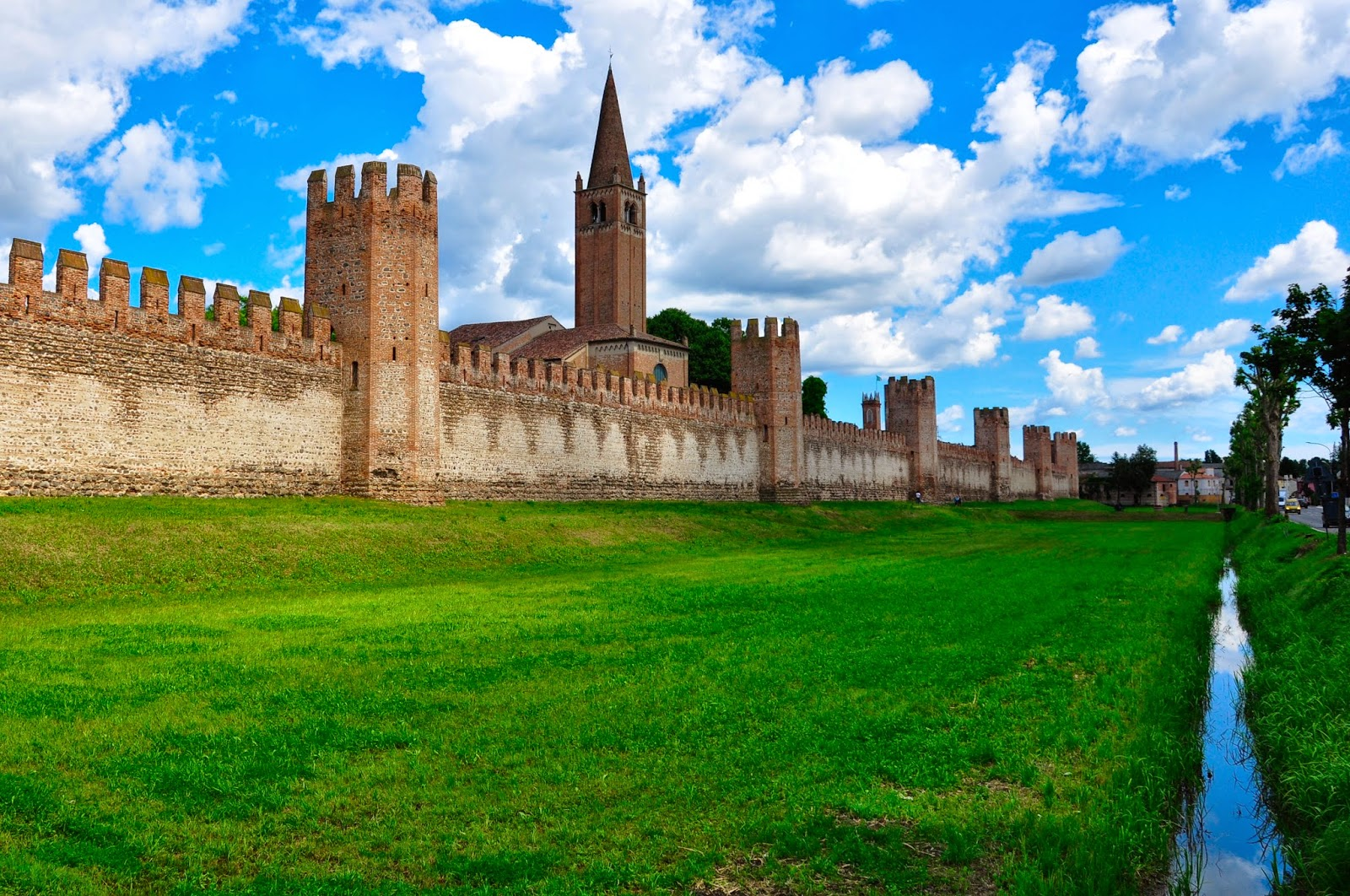 The medieval defensive wall of Montagnana, Veneto, Italy