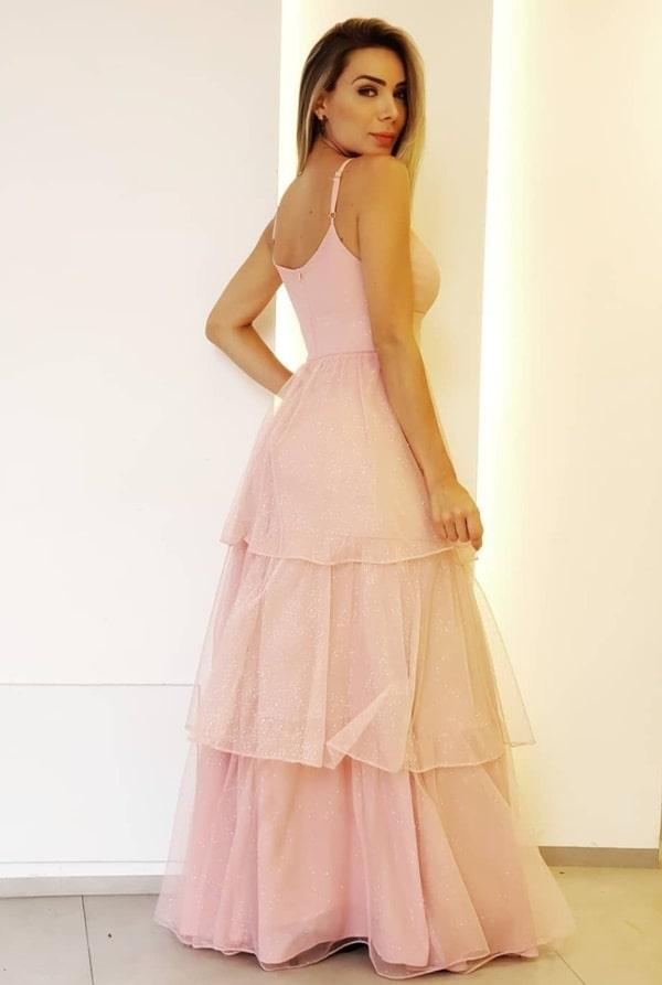 vestido longo rose com glitter
