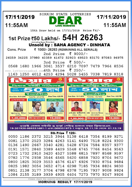 Lottery Sambad 17-11-2019 Sikkim State Lottery Result 11.55 AM-sambadlottery.org